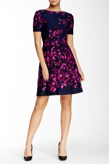 Donna Morgan Short Sleeve Floral Print Dress