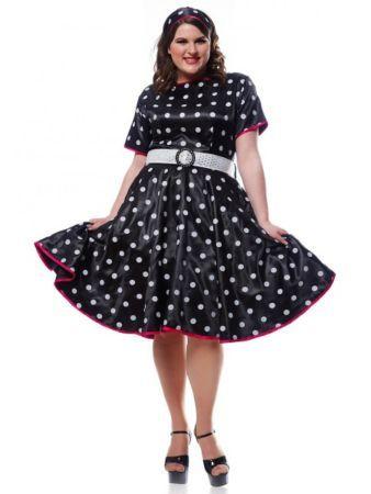 Plus Size Adult 50s Hot Black Dress | 50's costumes at FrightCatalog.com