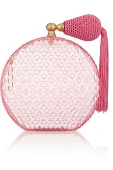 CHARLOTTE OLYMPIA Pink Scent perfume bottle perspex clutch