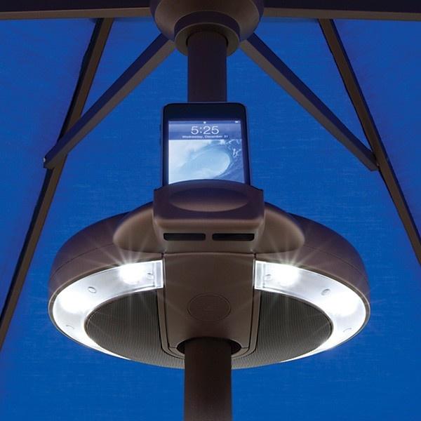 Serenata Umbrella Light   2 Powerful Hi Quality Speakers And 8 Adjustable  LED Lights.
