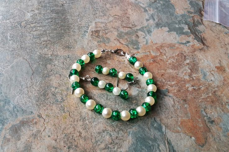Pearl & Emerald Green Glass Beads, Handmade Bracelet, Drop Earrings, Jewellery Set, Wedding,Gift for Her, Gift for Mum, Fashion Accessories by SpryHandcrafted on Etsy