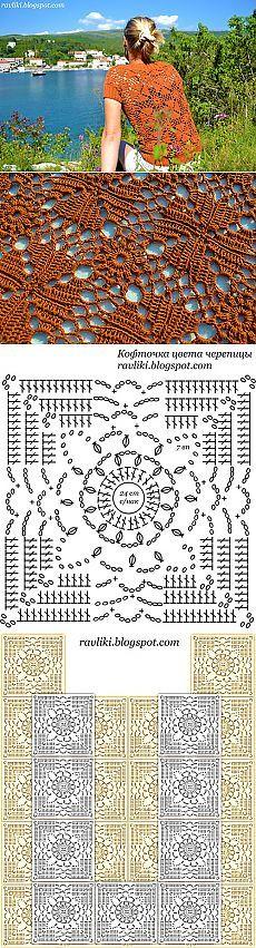 Вяжем летнюю кофточку из мотивов крючком | ЕЛЕНА ВЯЗАЛОЧКА – Вязание Спицами и…