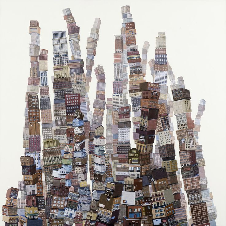 """extended city  Amy Casey  acrylic on panel. 30 x 30""""."""