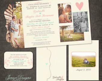 Retro Vintage Tri-fold Wedding Invitation  Boutique Tri