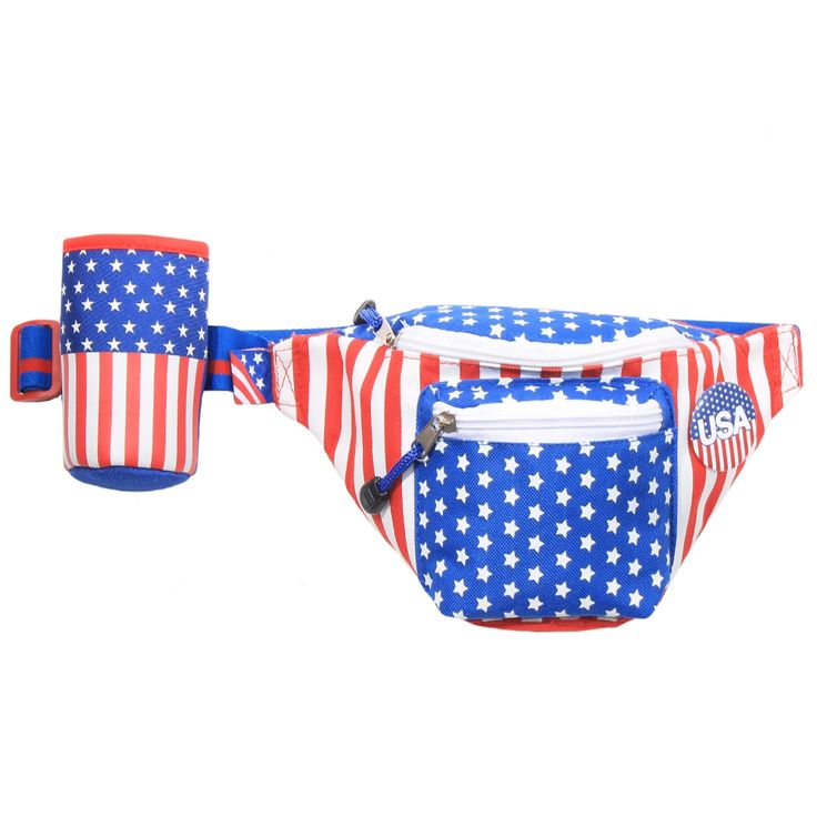 -100% nylon. -Three compartments with compartments.  -Adjustable blue and red strap that fits waists 26-38 inches around. -Detachable American Flag koozie and pin to be used separately.