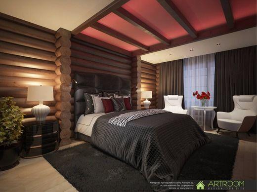 Дизайн интерьера деревянного дома. Спальня