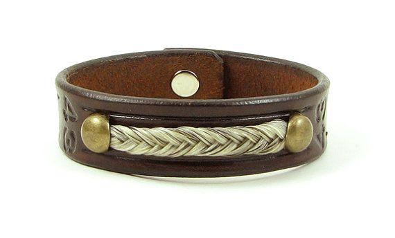 Pferdehaar und Leder-Armband mit Antik Messing von TheSugarLady