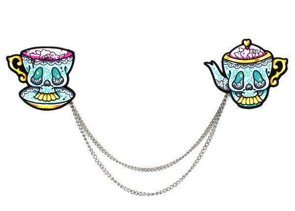 Skully Teacup and Teapot Cardigan Clips | Creep Heart