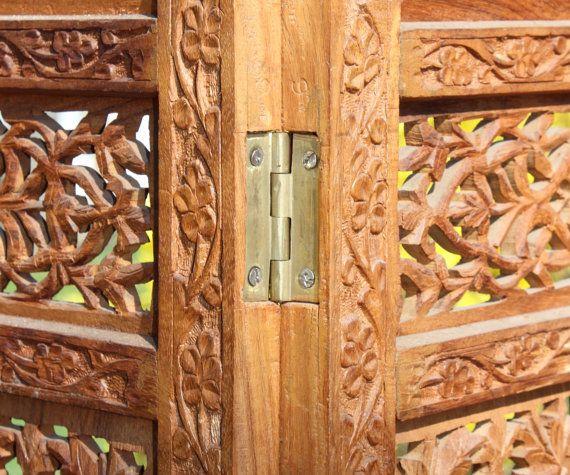 Hand Carved Wooden Room Divider Floor Screen ~ Antique hand carved teak rosewood room divider screens