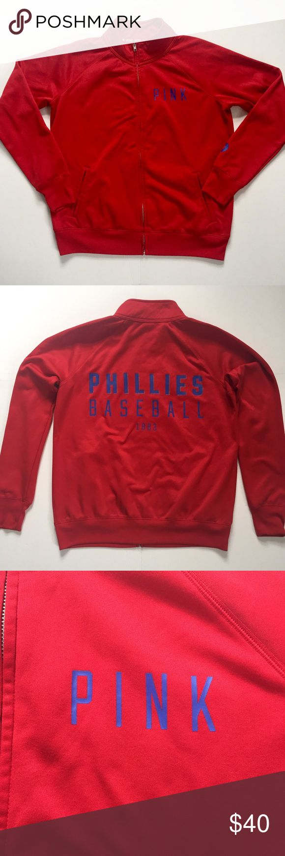 """VS PINK Philadelphia Phillies Baseball Jacket Show your team spirit while keeping warm at Citizens Bank Park in this Phillies jacket. Track style jacket. Zipper front with 2-pockets. The front has 'PINK' on the left hand-side and the Phillies 'P' on each Sleeve. The back has 'Phillies Baseball 1883'. Length is approximately 25 1/2""""; chest (underarm to underarm) is approximately 23"""". In good, pre-owned condition showing normal signs of wear. ❌NO TRADES❌NO PAYPAL❌ PINK Victoria's Secret…"""