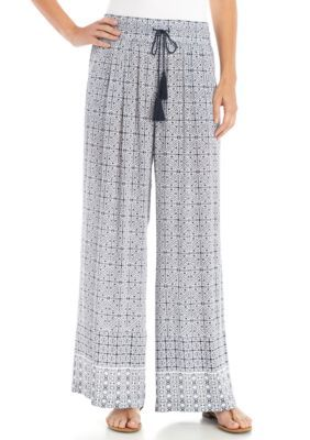 New Directions Women's Printed Crepon Pull-On Wide Leg Pants - Nitecap/White - Xl