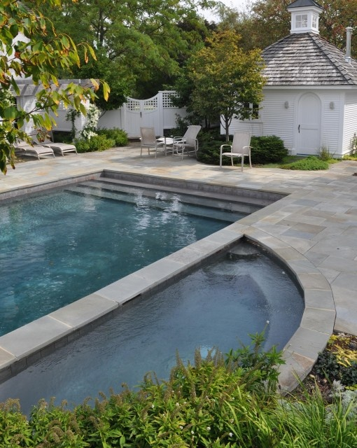 Steps across the entire width of the pool. Add a extra wide 2nd step for the babes.