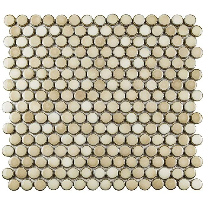 Somertile Fkompr71 Penny Truffle Porcelain Mosaic Floor And Wall Tile 12 X 12 625 Beige Brown Cream Porcelain Mosaic Tile Porcelain Mosaic Mosaic Flooring