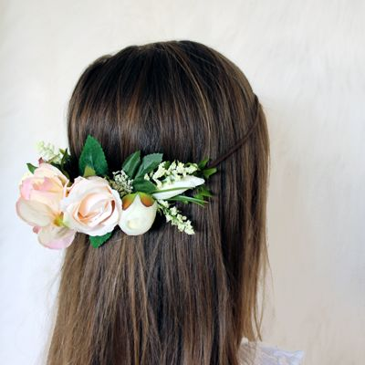 http://lillyandlace.com.au/product/blush-rose-silk-flower-crown/ blush pink peach silk floral wedding flower crown