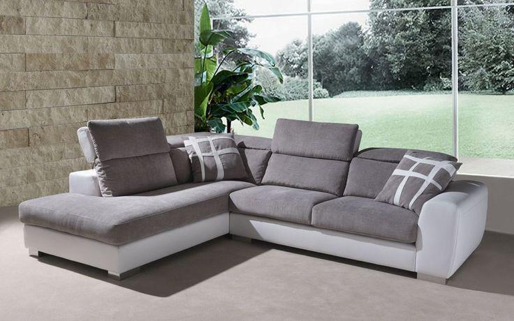divano stella con chaise longue e poggiatesta reclinabile | divani ... - Reclinabile Divano Ad Angolo Chaise