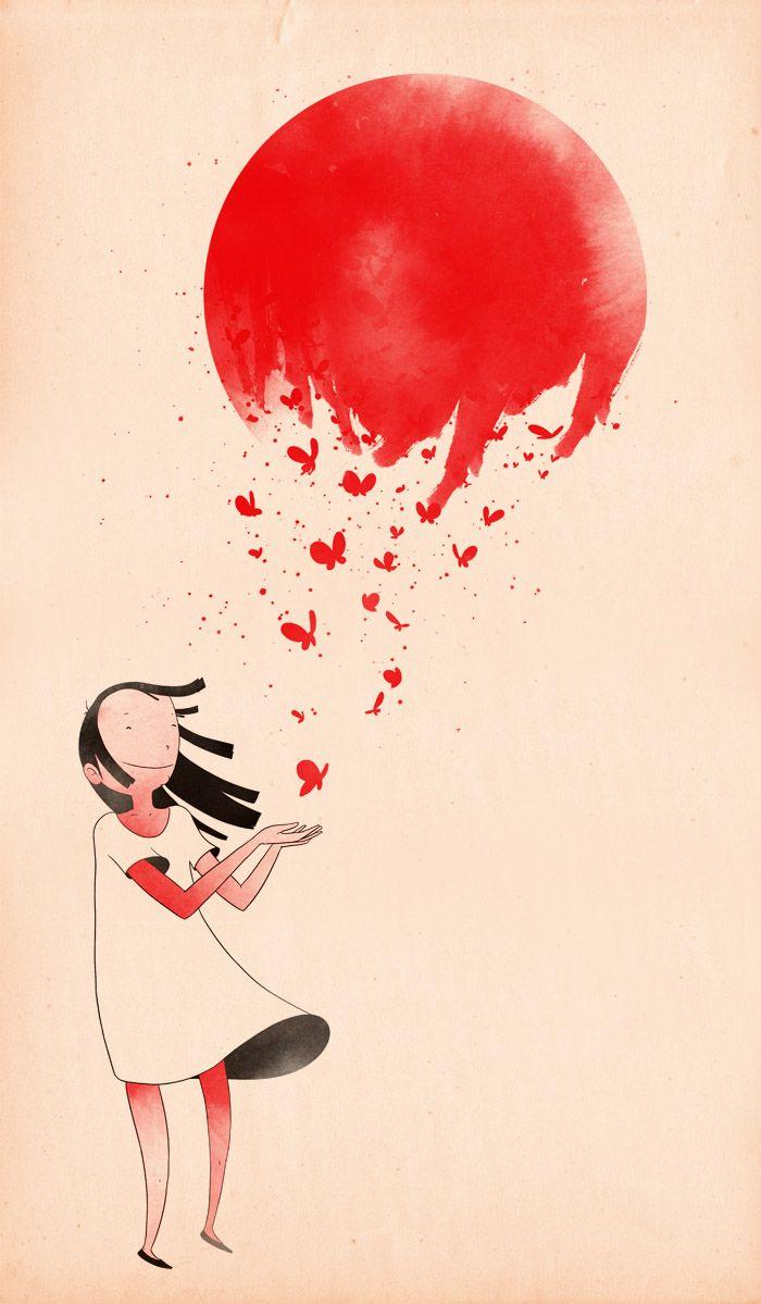 Japan: Drawings, Heart, Butterflies, Illustrations, Colors Art, Red Balloon, Graphics, Sunri, Matheus Lope