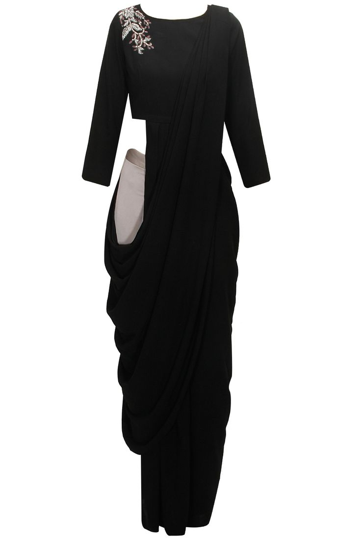 BHAAVYA BHATNAGAR Black sari with embroidered blouse and palazzo pants available only at Pernia's Pop-Up Shop.