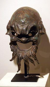 Theater Mask, Roman, bronze, 15 1/4 inches high, circa 1st Century A.D.
