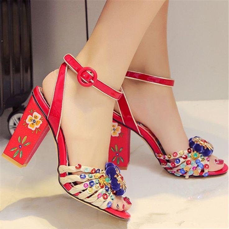 Vintage Blumendruck Frauen Gladiator Sandalen Handgemachten Paillette Decor High Heels Wirkliches Leder Hochzeit Schuhe Frau Frauen Pumpen //Price: $US $69.30 & FREE Shipping //     #dazzup