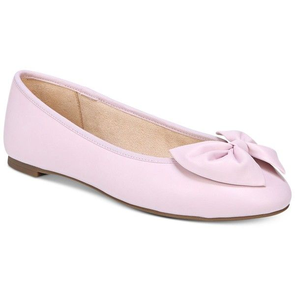 Circus by Sam Edelman Ciera Flats ($49) ❤ liked on Polyvore featuring shoes, flats, pearl pink, flat heel shoes, pink bow shoes, pink flat shoes, flat shoes and bow shoes