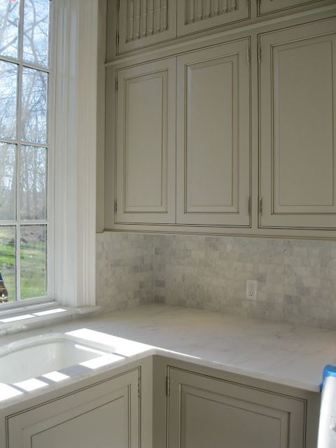98 best kitchen backsplash and countertops images on - Putty colored kitchen cabinets ...