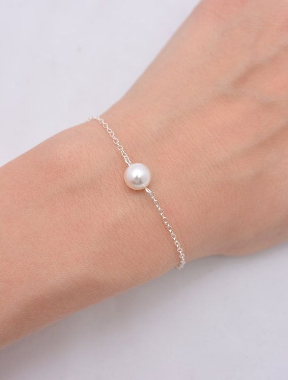 Set of 6 Bridesmaid Bracelets 6 Floating Pearl by AnaInspirations