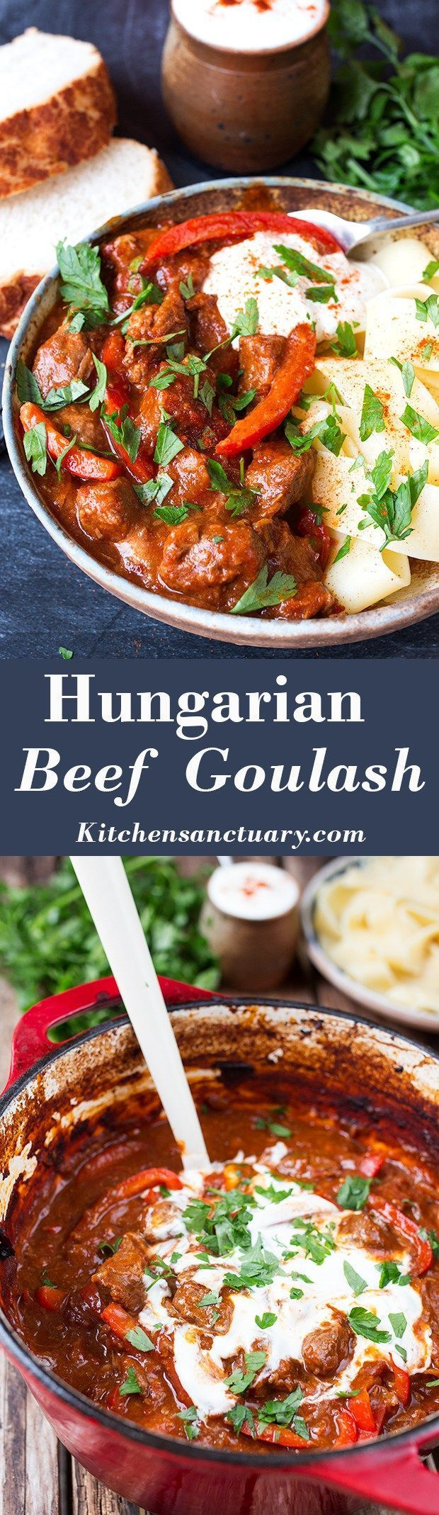 Served with spaghetti squash noodles or zoodles...Slow-Cooked Hungarian Beef Goulash - A thick and hearty, paprika spiced stew.