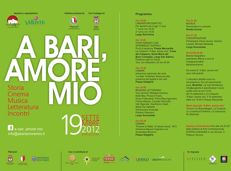 """l 19 settembre, a #Bari, nella città vecchia, """"A Bari amore mio"""", evento organizzato dalle Associazioni Veluvre e PugliArte. Una giornata di musica, cinema, letteratura, incontri, tour guidati e laboratori per bambini. #CREATIVIASSOCIATI sostiene l'evento."""