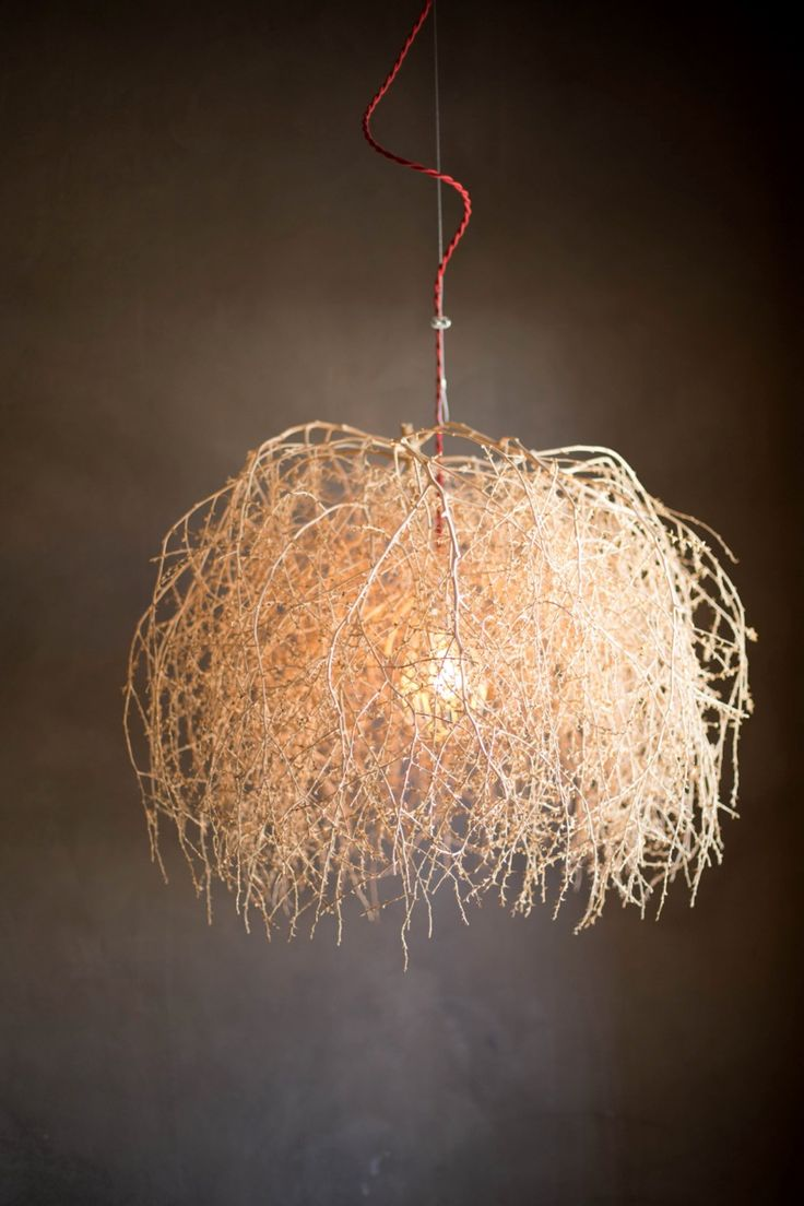 Memories of my desert home town..LOTS of tumbleweeds there. Nice way to showcase the sculptural beauty of one. Marfa Tumblweed light by Jean Landry.