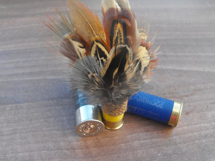 shotgun cartridge Pheasant feather Brooch by Countryfeatherstweed on Etsy