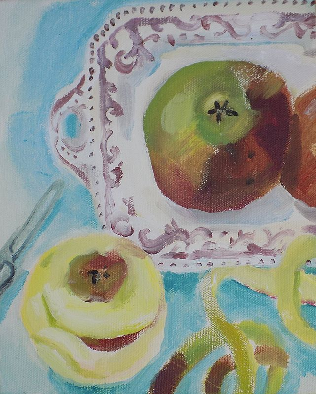 'Apples and Pink Plate' by Brita Granström (acrylic on canvas)