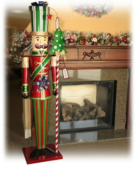 new life size over 6 tall christmas holiday metal toy soldier nutcracker decor - Large Life Size Toy Soldier Christmas Outdoor Decorations