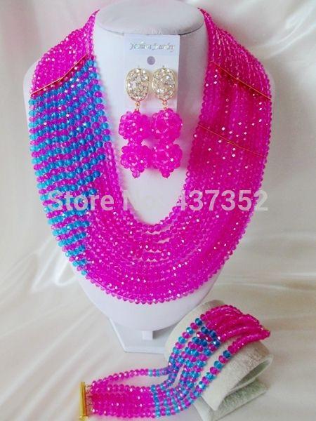 Мода Фуксия Розовый Бирюзовый Синий Кристалл Ожерелья Костюма Нигерийские Свадебные Африканские Бусы Ювелирные Наборы NC419