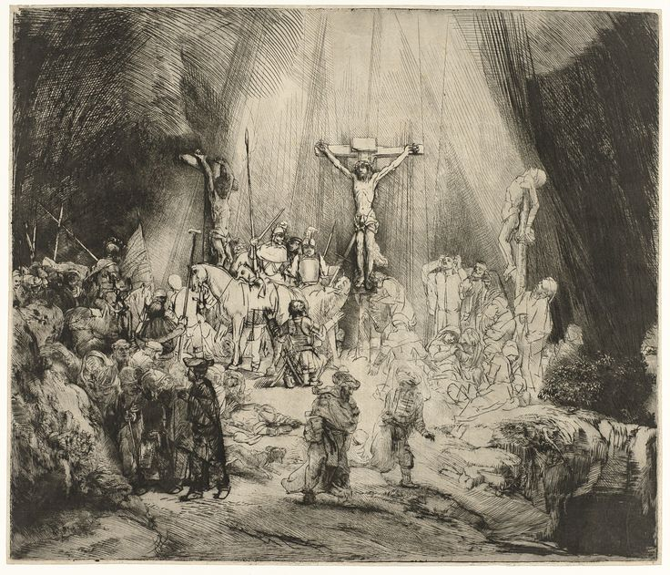 The Three Crosses by Rembrandt Harmensz. van Rijn, 1653. Rijksmuseum, Public Domain