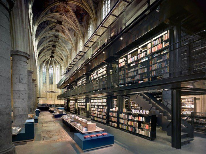 An old church serves now as a grand bookstore. http://bookriot.com/2012/08/17/13th-century-church-gets-new-life-as-a-bookstore/
