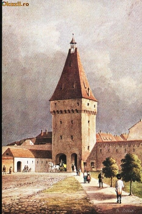 Carte postala ilustrata Poarta Cisnadiei - Sibiu, din exterior foto mare