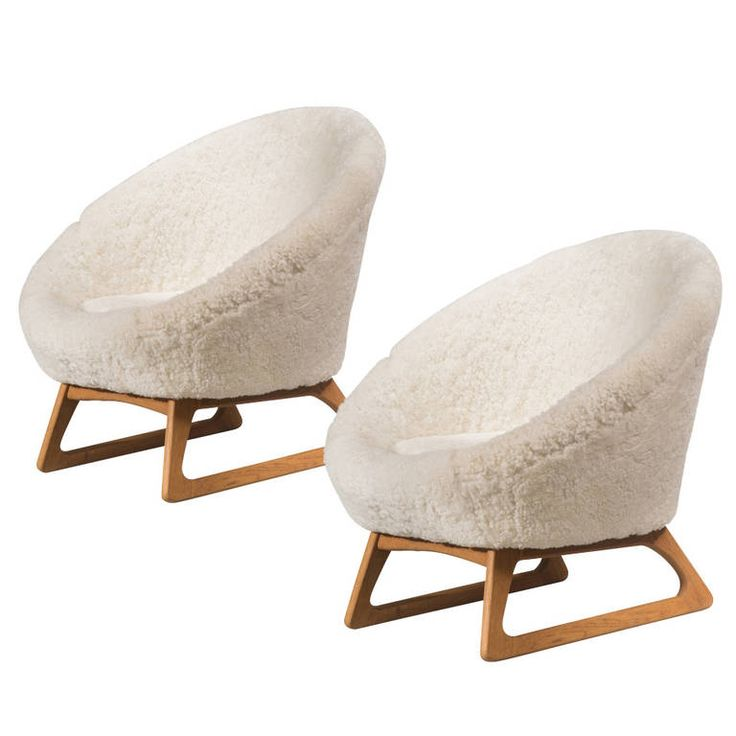 Amazing A Pair Of Rare Kurt Ostervig Oak And Fur Upholstered Chairs Nice Ideas