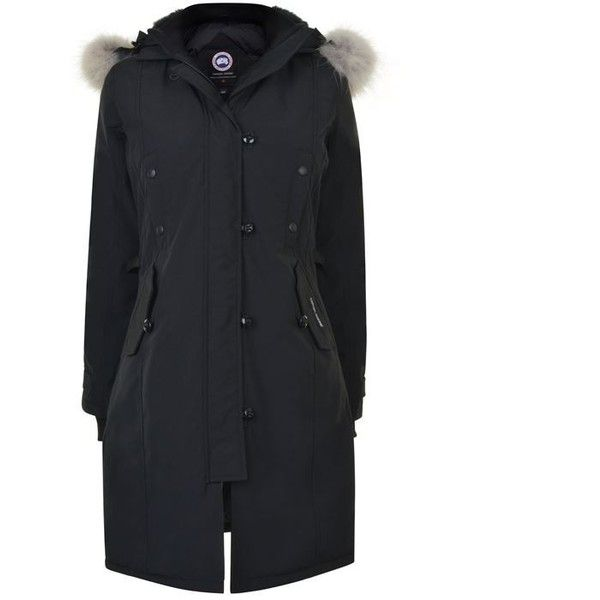 Canada Goose Kensington Parka (€940) ❤ liked on Polyvore featuring outerwear, coats, coats & jackets, black, fleece lined parka, padded coat, padded parka coat, fleece lined coat and canada goose