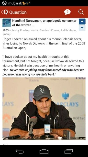 Roger Federer interview after losing to Novak Djokovic in Semi Final. These are the moments which shows what the legends are made of.