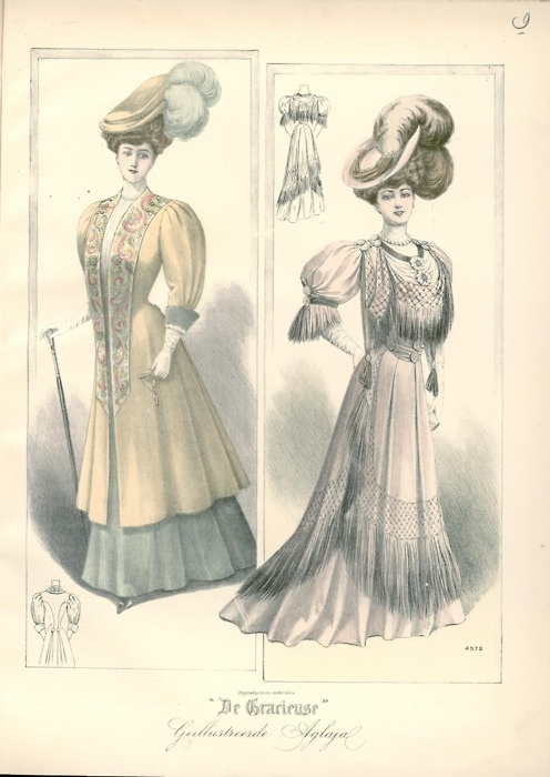 Edwardian coloured fashion plate, sketch, illustration.