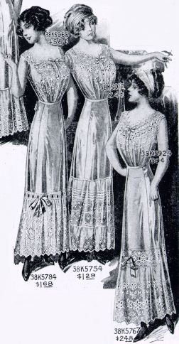 Petticoats and corset covers pictured in a 1912 catalog.