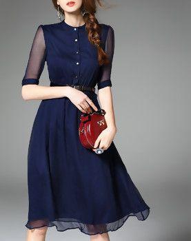 Navy Blue Silk Half Sleeve Belted Solid Midi Dress