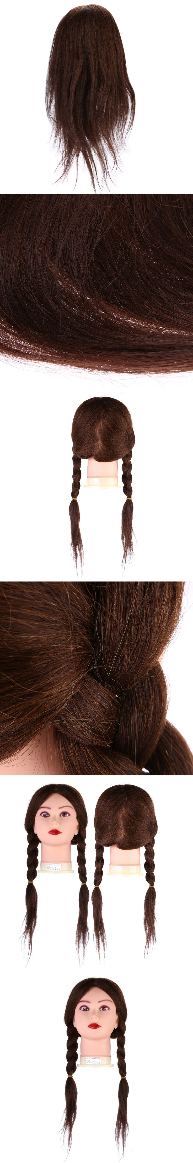Hairdressing Training Mannequin Practice Head Brown Long Human Hair for salon and personal use
