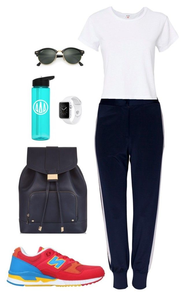 Street style by dalma-m on Polyvore featuring polyvore moda style RE/DONE Baum und Pferdgarten New Balance Monsoon Ray-Ban fashion clothing