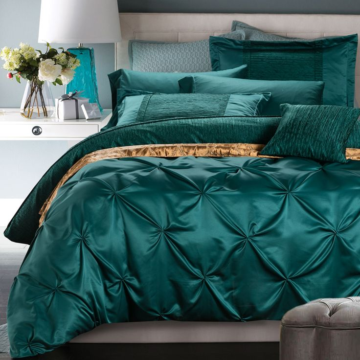 6 Pieces Cotton Imitated Silk Luxury Bedding Set Solid Color Pinch Pleat Bed Set King Queen Bed Linens Duvet Cover Bed Sheet-in Bedding Sets from Home, Kitchen & Garden on Aliexpress.com | Alibaba Group