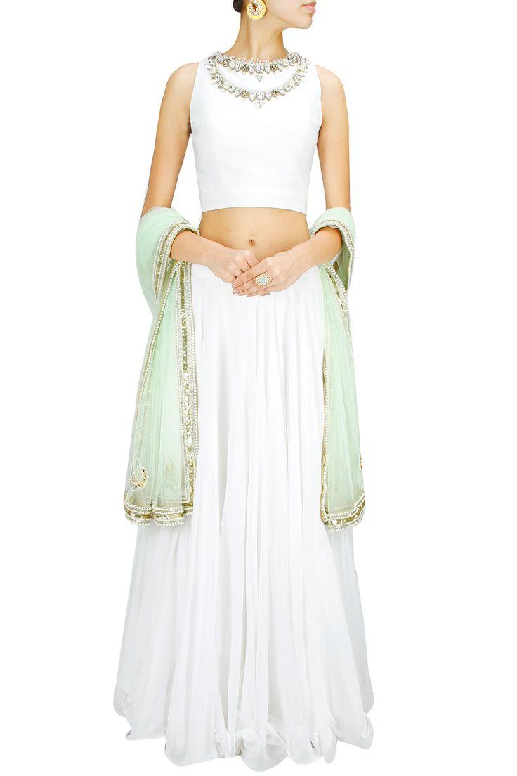 White and mint green embroidered lehenga set BY HARSHITAA CHATTERJEE DESHPANDE. Shop now at: www.perniaspopups... #perniaspopupshop #designer #stunning #fashion #style #beautiful #happyshopping #love #updates