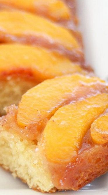 Peach Upside-Down Cake . I made it in a spring form pan....bad idea. A lot of the good sugary topping slipped out the side and made a mess of my oven. But it was still super delicious.