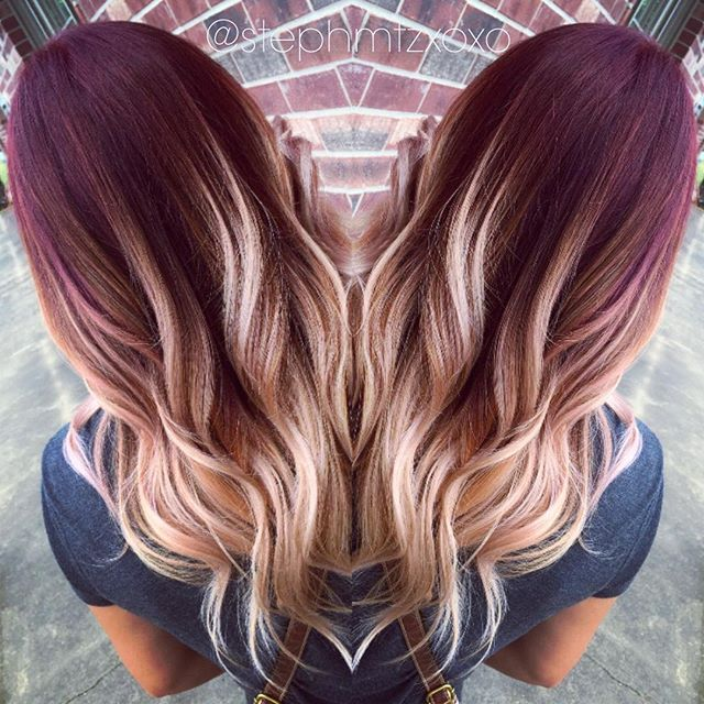 I have always wanted to try something like this! And this doesn't look too bad.....#red to #blonde color melt! #hairbystephany. Openings next week, call @stylelabsalonlj to book 979.480.0000