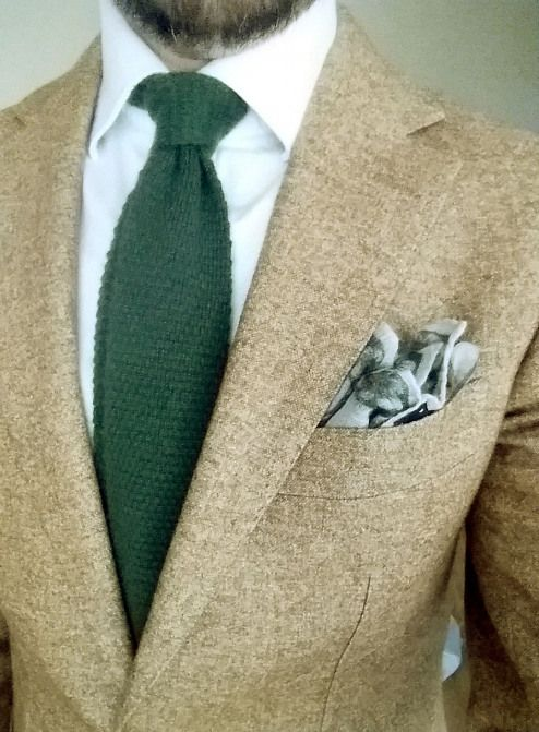 25e3588882 Green knit wool tie from Berg&Berg yellow ochre jacket from ...