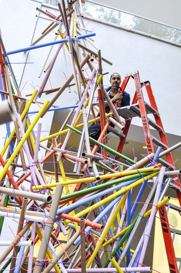 Collapse Construction | Formation Association in collaboration with Los Angeles artists, Edgar Arceneaux and Nery Gabriel Lemus; Photography: Hammer Museum | Archinect
